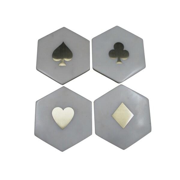 "Banswara Hexa Set of 4 coasters With Brass Inlay, 4x2"""