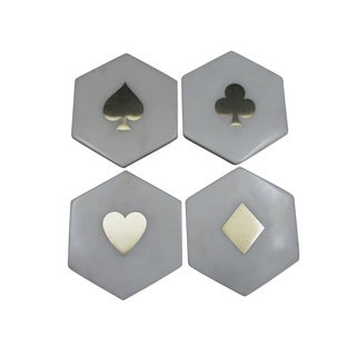 Banswara Hexa Set of 4 coasters With Brass Inlay, 4x2""