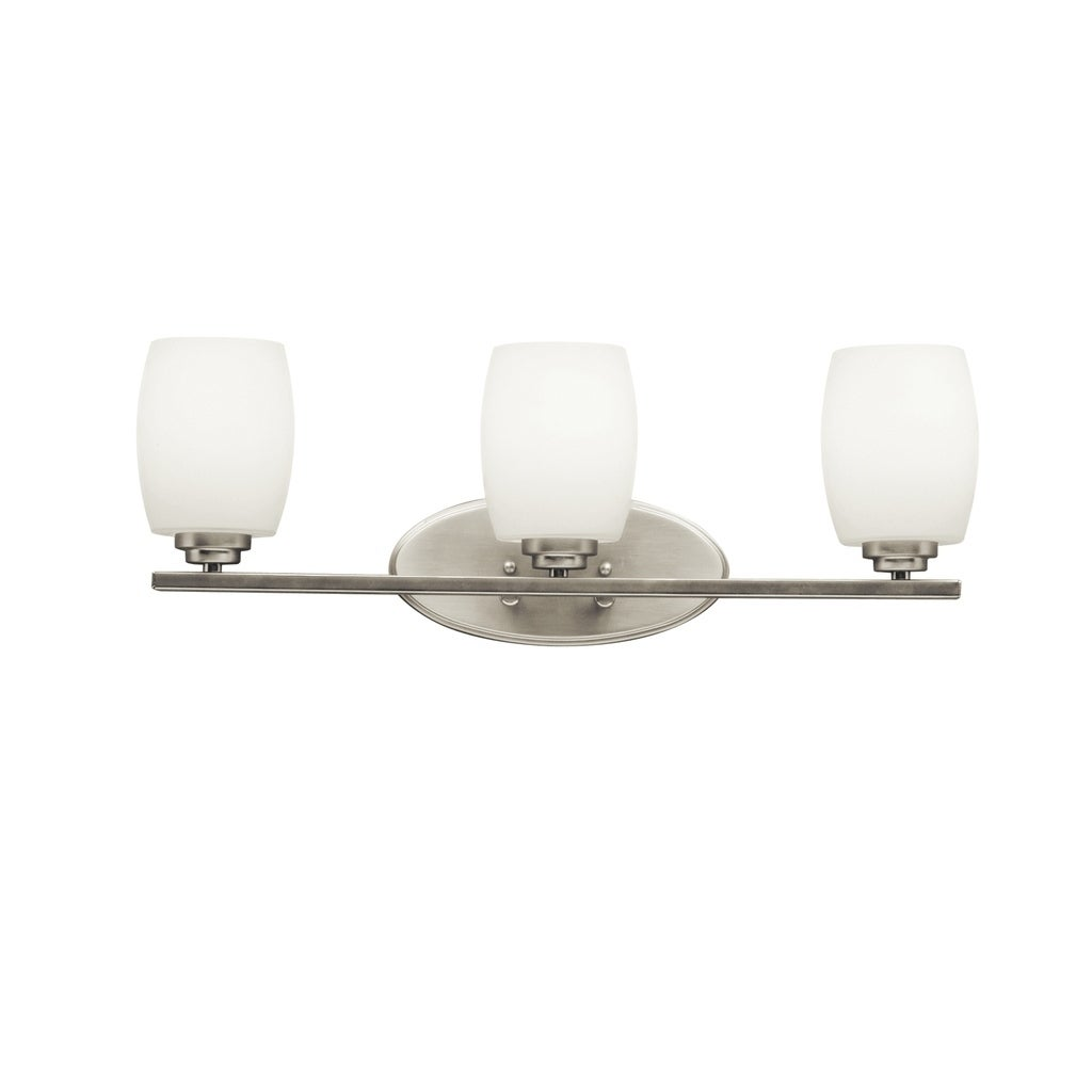 Shop Kichler Lighting Eileen Collection 3 Light Brushed Nickel Led Bath Vanity Light Overstock 19784460