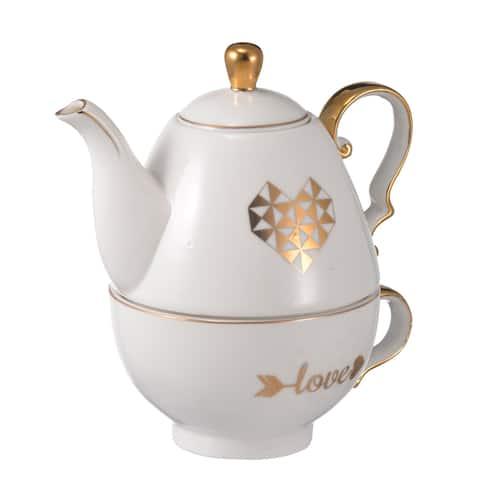 A&B Home Amore White Heart Teapot & Cup Set