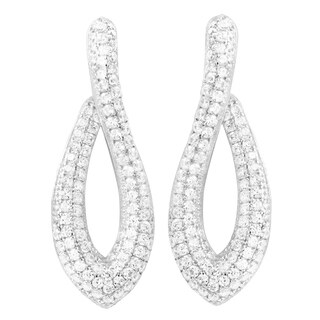 Luxiro Sterling Silver White Cubic Zirconia Open Marquise Post Earring