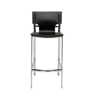 Venice Black Faux Leather and Chrome Metal 30-inch Stool
