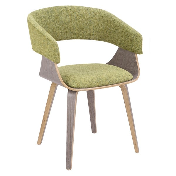 Elisa Mid-Century Modern Dining/Accent Chair in Light Grey Wood and Fabric