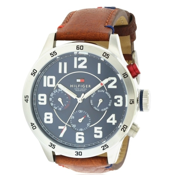 44738fbda Shop Tommy Hilfiger Leather Chronograph Mens Watch 1791066 - Free Shipping  Today - Overstock - 19784801