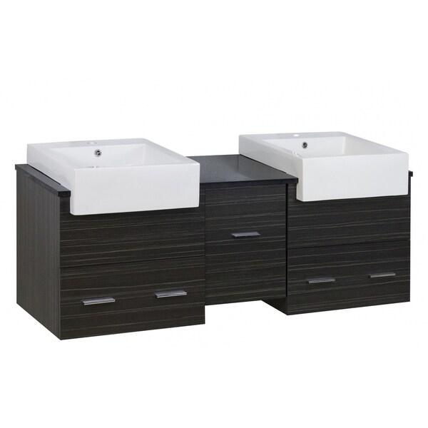 59.5-in. W X 18-in. D Modern Wall Mount Plywood-Melamine Vanity Base Set Only In Dawn Grey