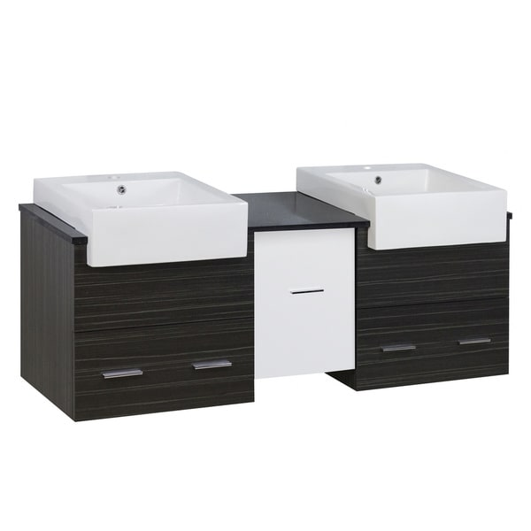 59.5-in. W X 18-in. D Modern Wall Mount Plywood-Melamine Vanity Base Set Only In Dawn Grey