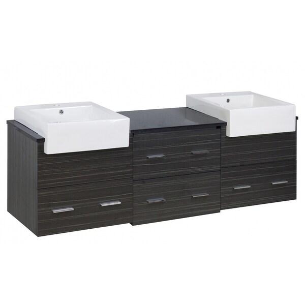 68.75-in. W X 18-in. D Modern Wall Mount Plywood-Melamine Vanity Base Set Only In Dawn Grey