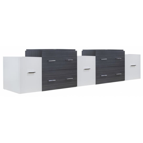 88.5-in. W X 17.8-in. D Modern Wall Mount Plywood-Melamine Vanity Base Set Only In Dawn Grey