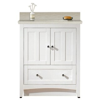 30.5-in. W Floor Mount White Vanity Set For 3H4-in. Drilling Beige Top White UM Sink