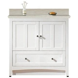 36-in. W Floor Mount White Vanity Set For 3H4-in. Drilling Beige Top White UM Sink