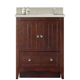 30.5-in. W Floor Mount Walnut Vanity Set For 1 Hole Drilling Beige Top Biscuit UM Sink