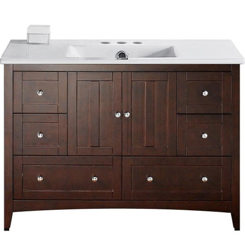 48-in. W Floor Mount Walnut Vanity Set For 3H4-in. Drilling