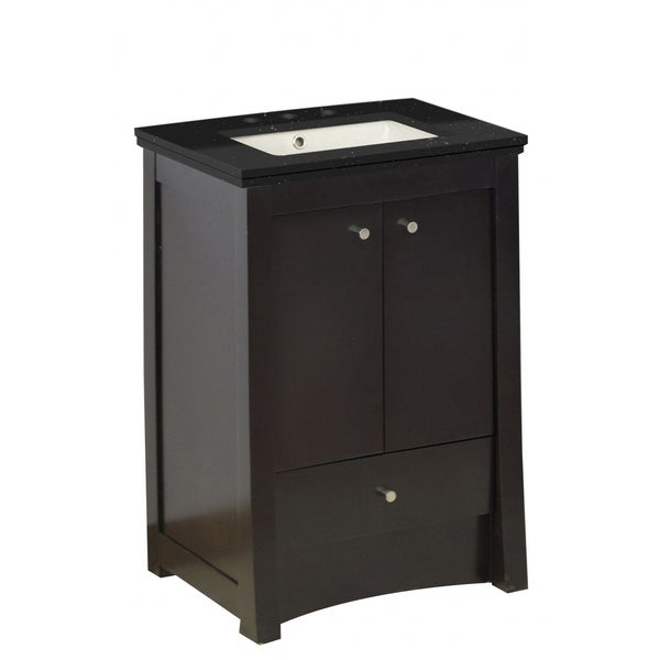 31.75-in. W Floor Mount Distressed Antique Walnut Vanity Set For 3H8-in. Drilling Black Galaxy Top Biscuit UM Sink