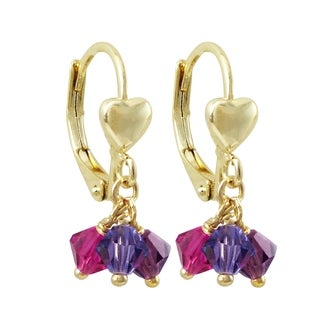 Luxiro Gold Finish Heart Dangling Puple 4mm Crystal Beads Children's Earrings