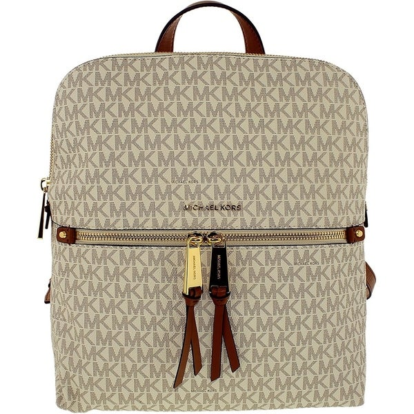 accfa4b2b297 Shop Michael Kors Rhea Medium Slim Backpack - Signature Vanilla -  30H6GEZB2V-150 - Free Shipping Today - Overstock - 19786426