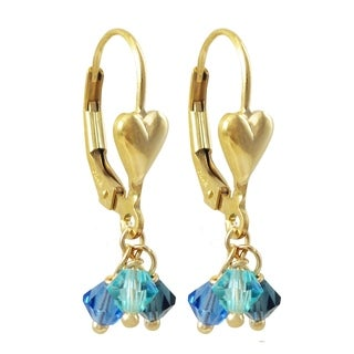 Luxiro Gold Finish Heart 4mm Blue Crystals Children's Dangling Gold-filled Earrings