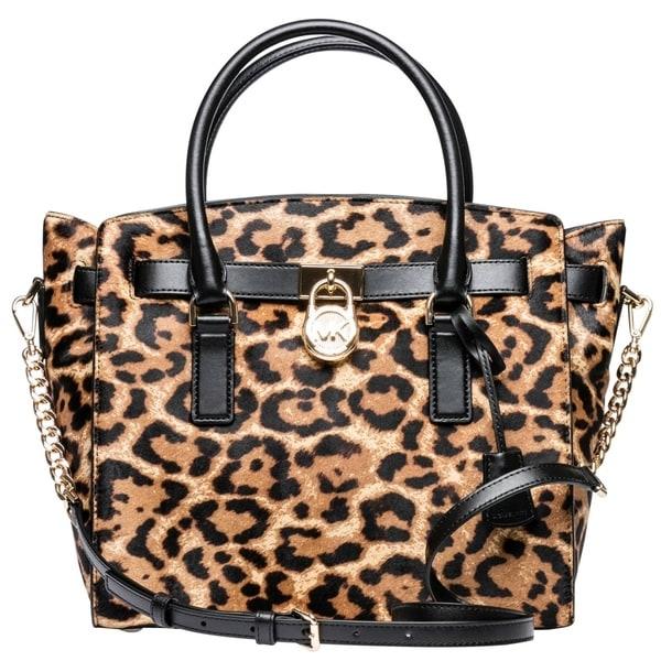 2831cdb60f34ca Shop Michael Kors Hamilton Leopard Calf Hair Satchel - Butterscotch -  30F7GHMS7H-226 - Free Shipping Today - Overstock - 19786443