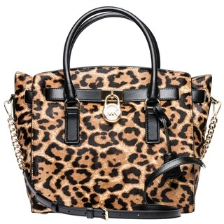 Michael Kors Hamilton Leopard Calf Hair Satchel - Butterscotch - 30F7GHMS7H-226