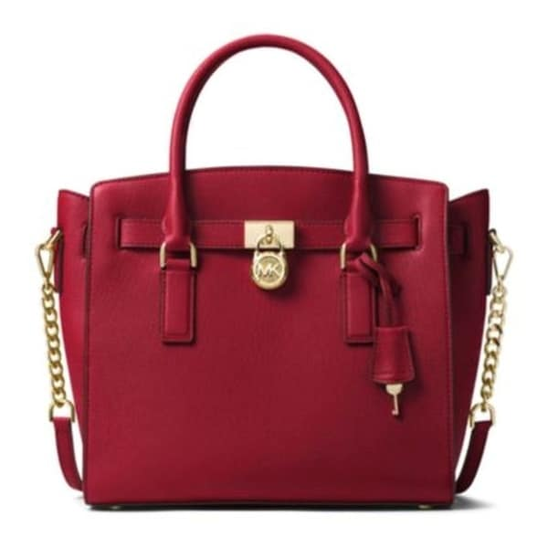 cacf9b552d25 Shop Michael Kors Hamilton Large Leather Satchel - Burnt Red -  30S7GHMS7L-361 - Free Shipping Today - Overstock - 19786446