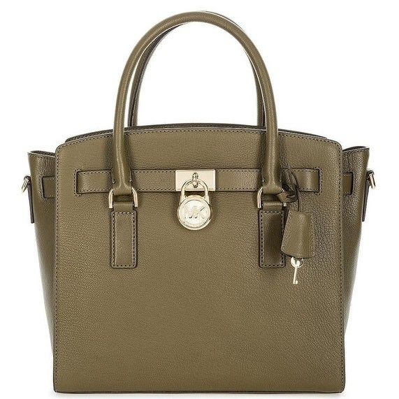 f59668ec2ed8ee Shop Michael Kors Hamilton Large Leather Satchel - Olive - 30S7GHMS7L-333 - Free  Shipping Today - Overstock - 19786454