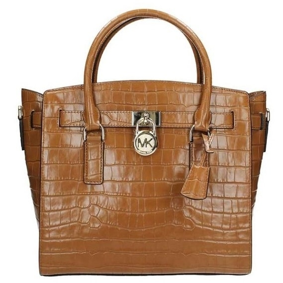 b4e5924cc0db Shop Michael Kors Hamilton Embossed-Leather Satchel - Acorn -  30F7GHMS7E-532 - Free Shipping Today - Overstock - 19786460