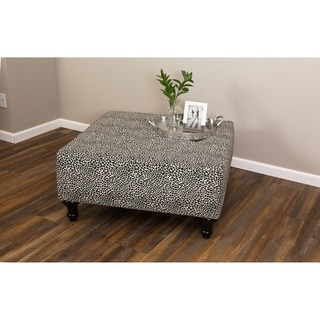 Leffler Home Hamilton Square Ottoman in Tiny Leaves Onyx