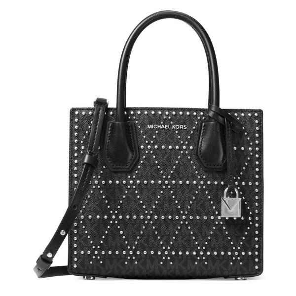 10e77c909684 Shop Michael Kors Studio Mercer Studded Messenger Bag - Black - 30F7SZ4M2V- 001 - Free Shipping Today - Overstock - 19786480