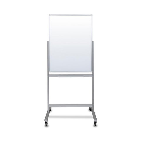 """30""""W x 40""""H Double-Sided Mobile Magnetic Glass Marker Board"""
