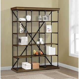 BroyerK Triple Shelving Cornice Bookcase Unit Brown
