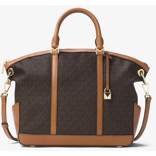 237e00498583 Shop Michael Kors Beckett Large Logo Satchel - Brown - 30T7GBUS3B-200 -  Free Shipping Today - Overstock - 19786542