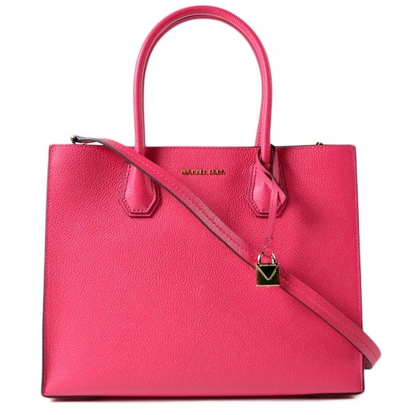 6350d14102b9 Shop Michael Kors Mercer Large Leather Tote - Ultra Pink - 30F6GM9T3L-564 -  Free Shipping Today - Overstock - 19786570