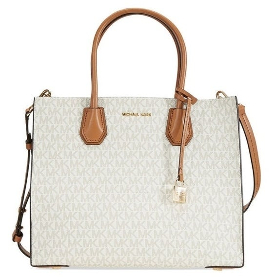 304cf4b24f5d Shop Michael Kors Mercer Large Logo Tote - Vanilla - 30S7GM9T3V-150 - Free  Shipping Today - Overstock - 19786575