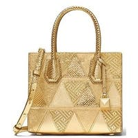 2d8c2f33e8f0 Michael Kors Mercer Metallic Patchwork Leather Crossbody - Gold -  30H7MM9M6K-710