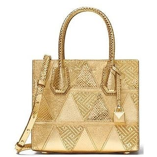 ff5023e8d59b Michael Kors Mercer Metallic Patchwork Leather Crossbody - Gold -  30H7MM9M6K-710