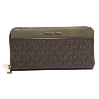 Michael Kors Mercer Logo Continental Wallet - brown and olive - 32S7GM9E9B-247