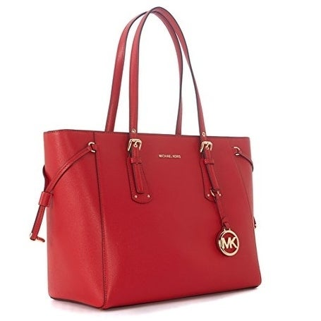 5a59adf32489 Shop MICHAEL KORS Voyager Medium Leather Tote - Bright Red - 30H7GV6T8L-204  - Free Shipping Today - Overstock - 19786634