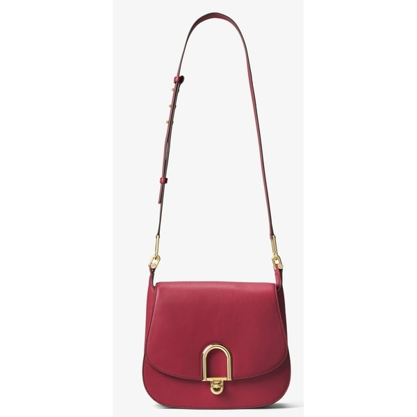9cfbb30a91fa Shop Michael Kors Delfina Large Leather Saddlebag - Burnt Red - 30T7GDZM3L- 361 - Free Shipping Today - Overstock - 19786635
