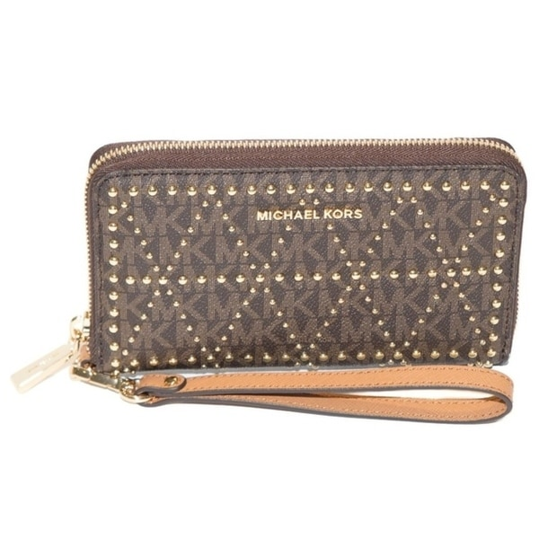 Michael Kors Jet Set Travel Studded Logo Smartphone Wristlet - Brown - 32F7GFDE4V-200