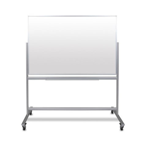 """60""""W x 40""""H Double-Sided Mobile Magnetic Glass Marker Board"""