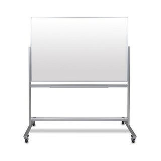 "60""W x 40""H Double-Sided Mobile Magnetic Glass Marker Board"