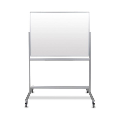 """48""""W x 36""""H Double-Sided Mobile Magnetic Glass Marker Board"""
