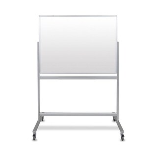 "48""W x 36""H Double-Sided Mobile Magnetic Glass Marker Board"