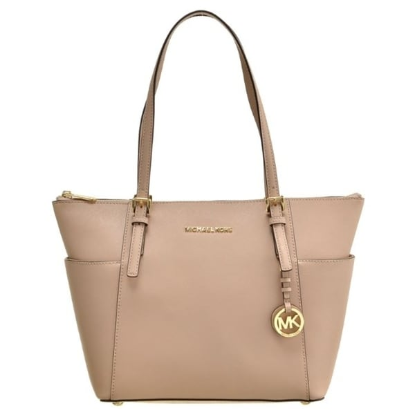 5b6940d0860 Shop Michael Kors Jet Set Top-Zip Saffiano Leather Tote - Oyster -  30F2GTTT8L-134 - Free Shipping Today - Overstock - 19786669