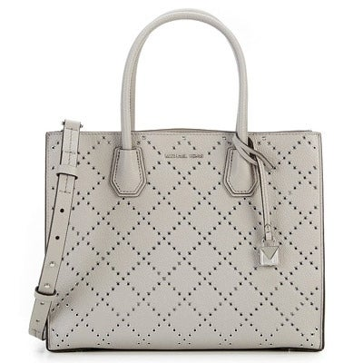 521b8cc41177 Shop Michael Kors Mercer Grommeted Leather Tote - Grey - 30F7SZ4T3U-081 -  Free Shipping Today - Overstock - 19786694