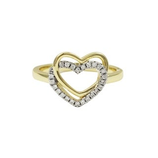 Luxiro Sterling Silver Two-tone Finish Cubic Zirconia Double Heart Ring