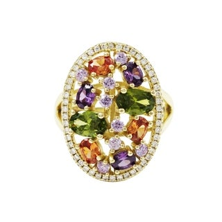 Luxiro Sterling Silver Gold Finish Multi-color Cubic Zirconia Oval Ring - Champagne