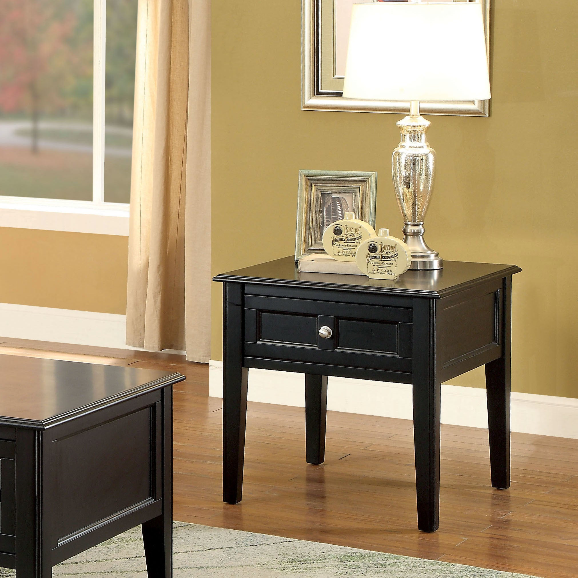Wilkens Transitional Black 1-drawer End Table by FOA (Black)