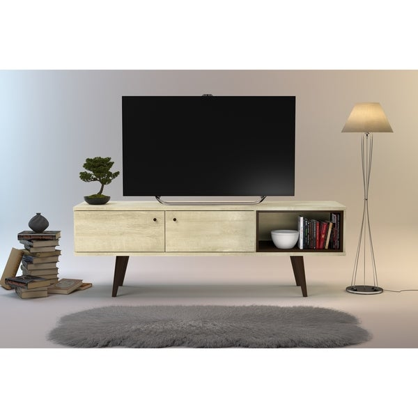 Carson Carrington Hitra Mid-century 2-cabinet TV Stand - 62 inches. Opens flyout.