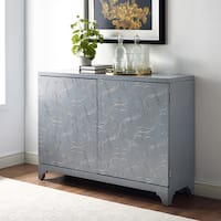 Hand Painted Distressed Silver Finish Bar and Wine Cabinet