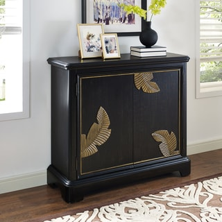 Hand Painted Distressed Black Finish Bar and Wine Cabinet